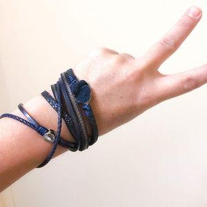 Double Wrap Dark Blue Druzy Bracelet